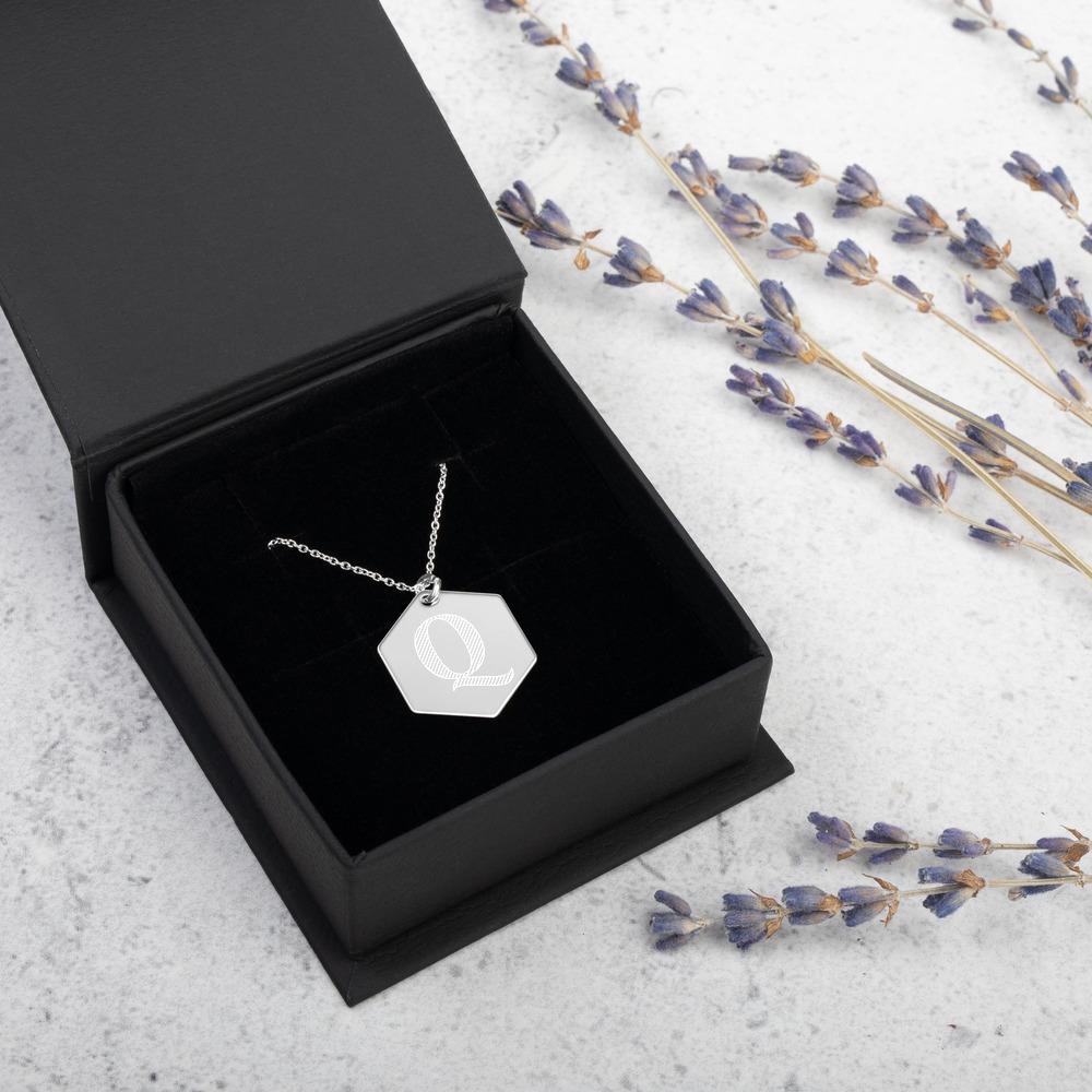 Engraved Silver Hexagon Q Necklace